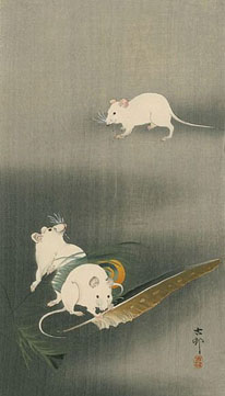 A Japanese woodcut of three mice