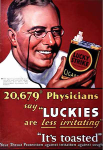 Original Lucky Strike advertisement showing physicians' endorsement of the brand