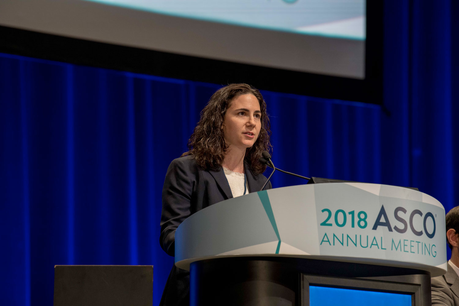 Sarah Goldberg speaking at ASCO18