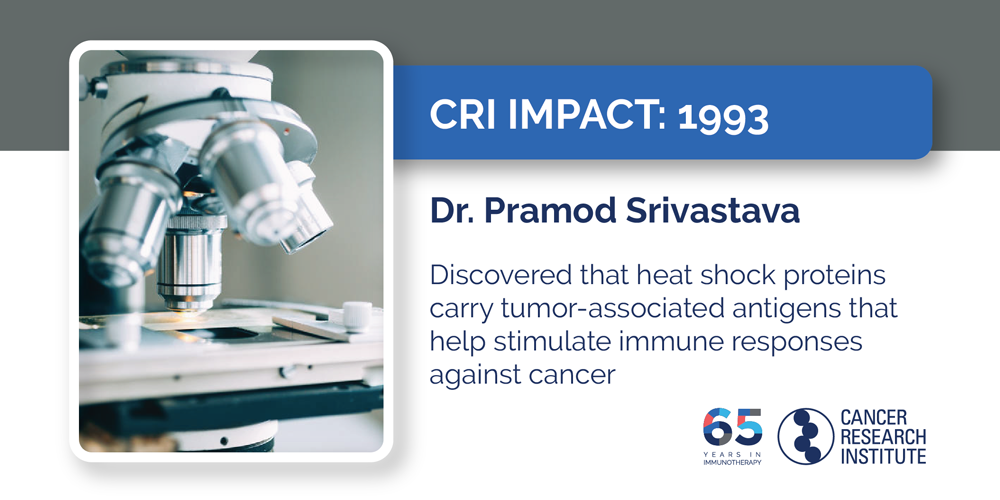 1993 Dr. Pramod Srivastava discovered that heat shock proteins carry tumor-associated antigens that help stimulate immune responses against cancer