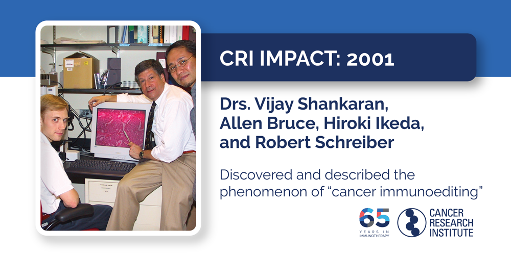 "2001 Drs. Vijay Shankaran, Allen Bruce, Hiroki Ikeda, and Robert Schreiber  Discovered and described the phenomenon of ""cancer immunoediting"""
