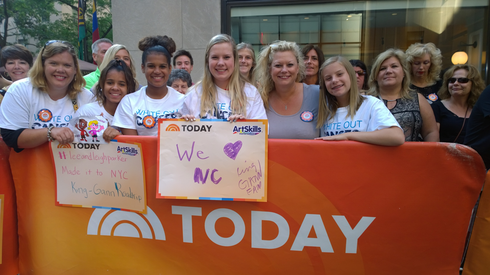NBC Today show guests from North Carolina wear white to white out cancer