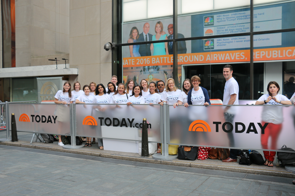 CRI staff wear white to white out cancer at the Today show