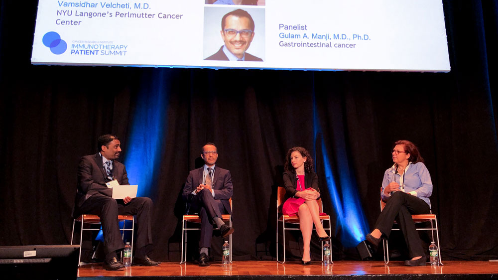 Immunotherapy Research Updates Panel: Drs. Vamsi Velcheti (moderator), Gulam A. Manji, Claire Friedman, and Sylvia Adams. Photo by Chary Sathea.