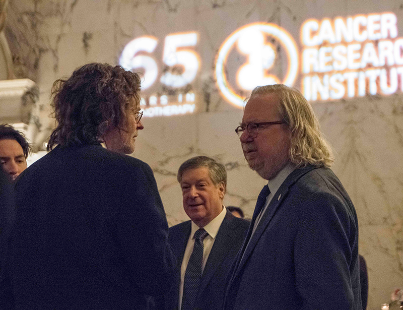 Drs. Lewis lanier, Robert Schreiber, and James Allison at CRI 2018 Awards Gala. Photo by Arthur Brodsky.