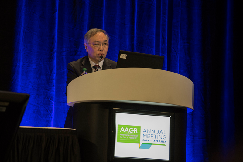 Hyun Cheol Chung, M.D., Ph.D., of Yonsei University, presents results from  the Keynote-028 and Keynote-158 trials at AACR19.