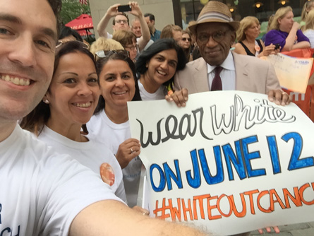 CRI group selfie with Al Roker at Today Show for White Out Cancer Day 2015