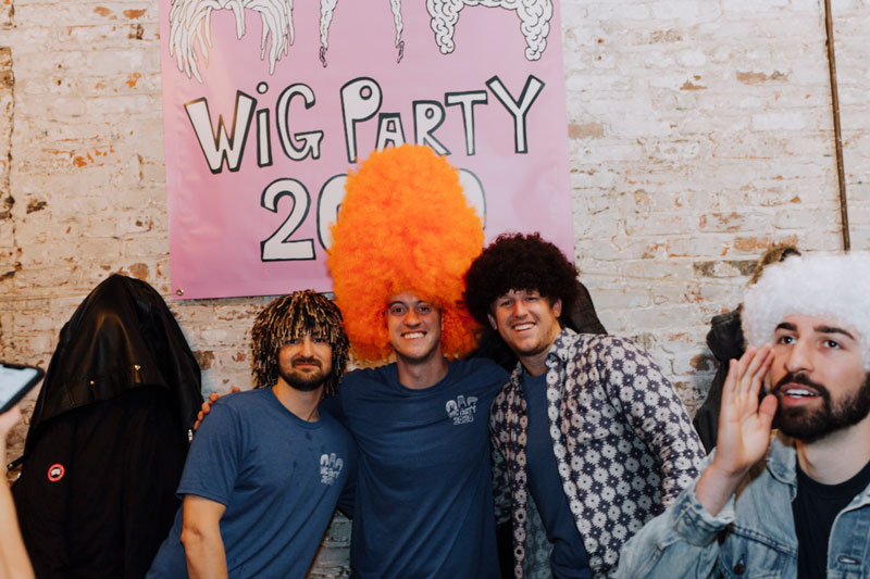 Stephen Murphy, John O'Brien, and Brian Dye at the 2020 Wig Party