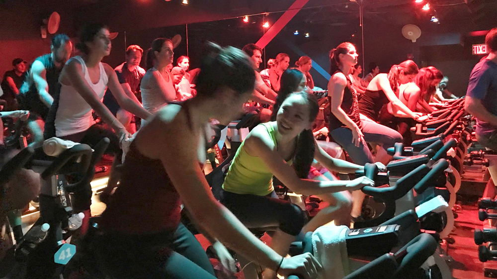 Bikes and Beers 2018 Fundraising Event Cyclists in Studio
