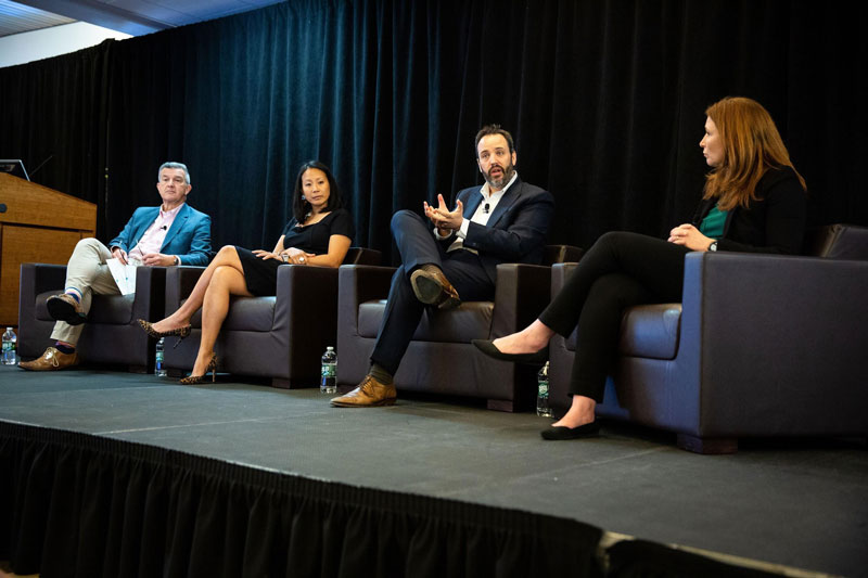 Immunotherapy Research Updates Panel: David Reardon, M.D (moderator), Kimmie Ng, M.D., M.P.H., Susanne Baumeister, M.D., Justin F. Gainor, M.D., and Susanne Baumeister, M.D. Photo by Adrianne Mathiowetz.