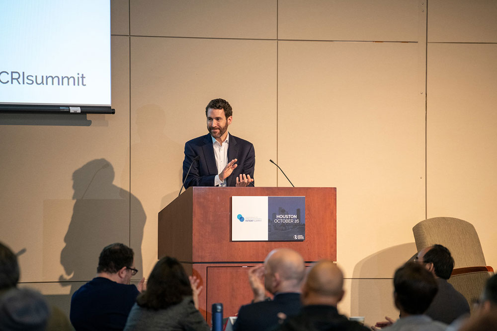 Brian Brewer welcomes attendees to the third CRI Immunotherapy Patient Summit in Houston, held at MD Anderson Cancer Center. Photo by Ranjani Groth