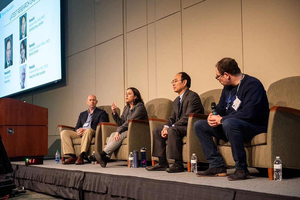 Immunotherapy Research Updates Panel: Drs. Adi Diab (moderator), Jianjun Gao, Andrew Sikora, and Valentina Hoyos Velez. Photo by Ranjani Groth