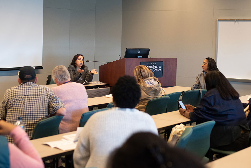 Dr. Hoyos met with patients to discuss breast cancer and immunotherapy. She discussed how treatments combining immunotherapy with other approved modalities was promising for breast cancer treatment. Photo by Ranjani Groth
