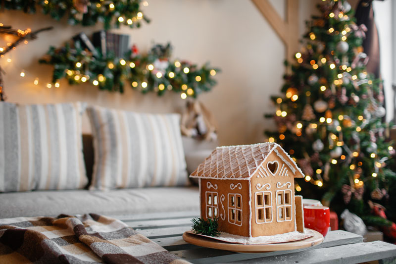 Gingerbread house in festive Christmas home