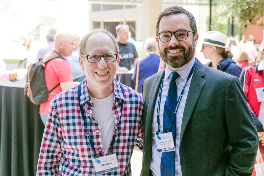 Gordon (L) and his oncologist Aaron M. Miller, M.D., Ph.D. (R) at the CRI Immunotherapy Patient Summit