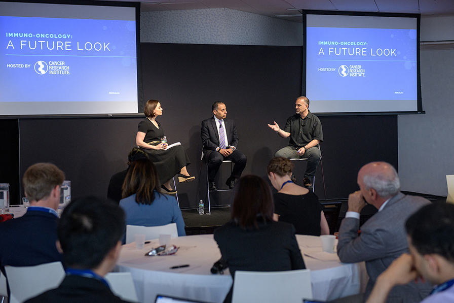 Meg Tirrell (CNBC) moderates an industry fireside chat with Drs. Awny Farajallah and George Yancopoulos