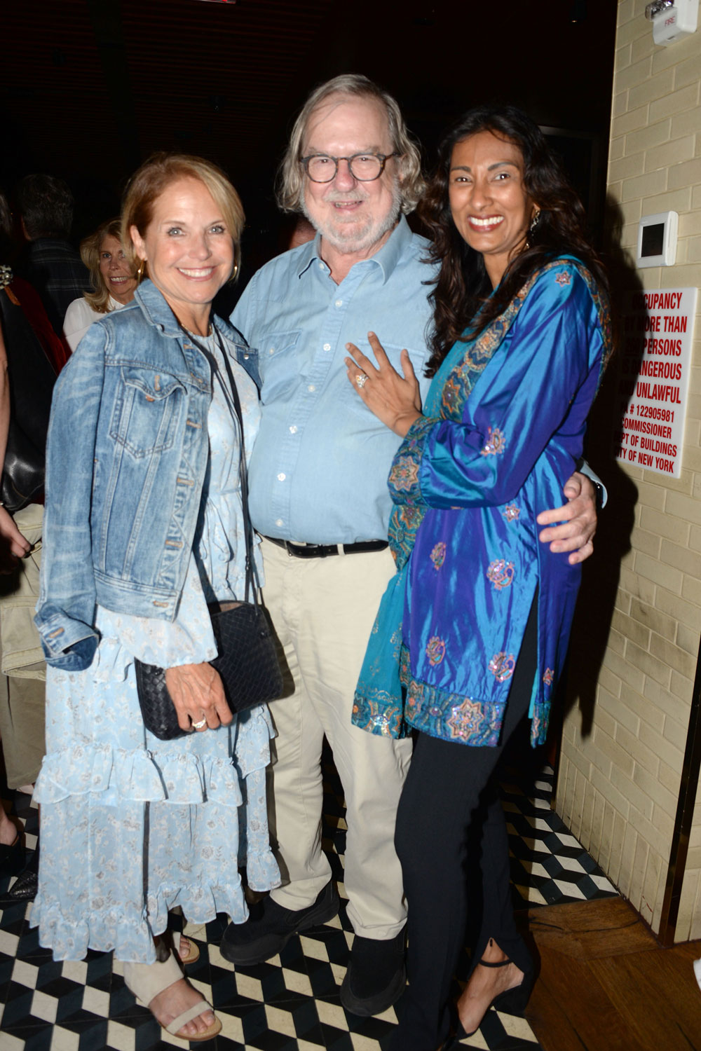 "Advocate Katie COuric, Dr. Jim Allison, and Dr. Padmanee Sharma at a reception for ""Jim Allison: Breakthrough"" hosted by Dada Films with The Cinema Society in New York City. Photo by Paul Bruinooge/PMC. Courtesy of Uncommon Productions."