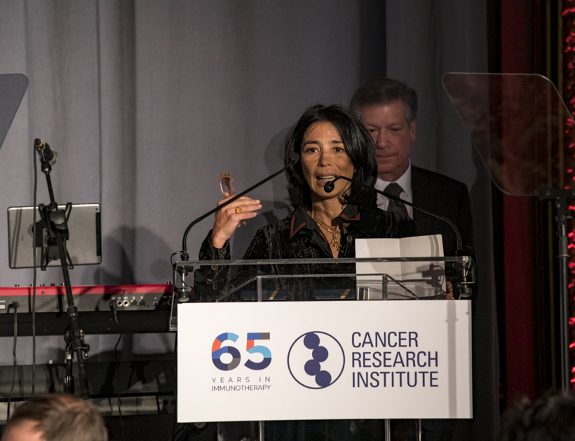 Miriam Merad, M.D, Ph.D., of the Icahn School of Medicine at Mt. Sinai, accepting the 2018 William B. Coley Award. Photo by Arthur N. Brodsky, Ph.D.