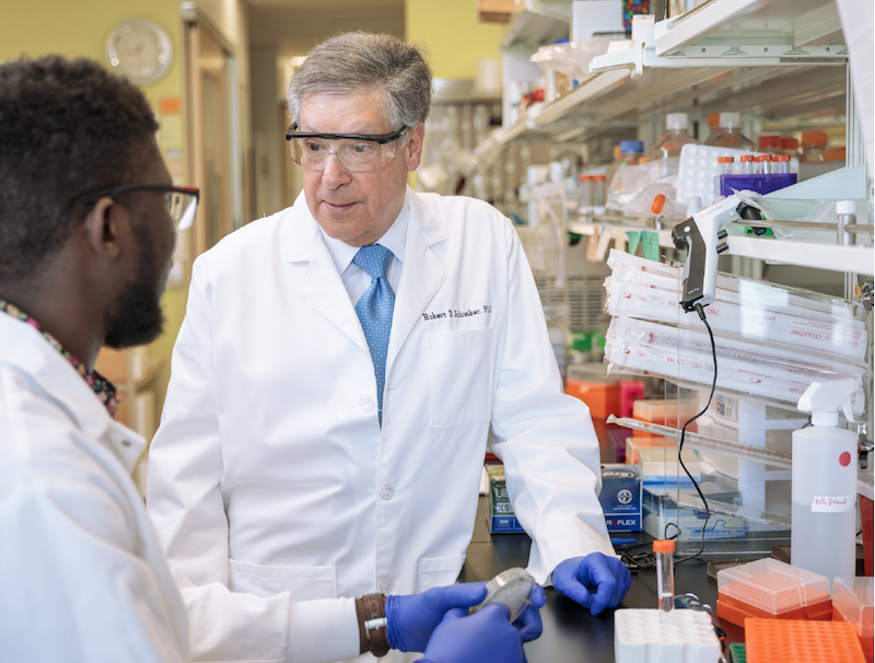 Robert D. Schreiber, Ph.D., and Samuel O. Ameh, a doctoral student in his lab at Washington University. (photo provided by the Washington University School of Medicine)