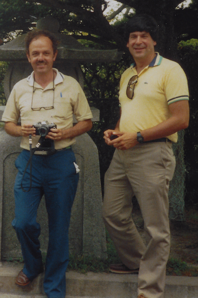 Emil R. Unanue, Ph.D. (L) and Schreiber (R) during a trip to Japan in 1979. (photo provided by Schreiber)
