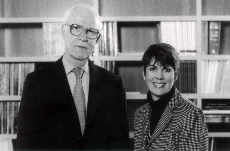 Lloyd J. Old, with Jill O'Donnell-Tormey, Ph.D., the chief executive officer of the Cancer Research Institute.