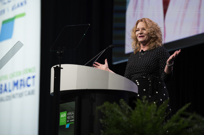Elaine R. Mardis, Ph.D., speaks at the 2019 annual meeting of the American Association for Cancer Research.