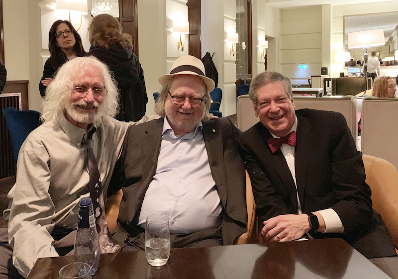 From L to R: Philip D. Greenberg, M.D., James P. Allison, Ph.D., and Schreiber, in Stockholm, Sweden for Allison's 2018 Nobel Prize ceremony (photo provided by Schreiber)