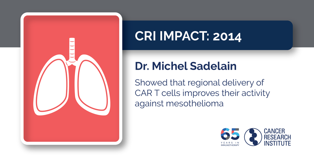 2014 Dr. Michel Sadelain showed that regional delivery of CAR T cells improves their activity against mesothelioma