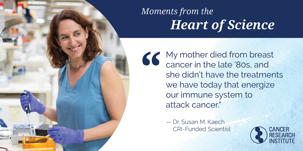 Susan Kaech, CRI-Funded Scientist: My mother died from breast cancer in the late '80s, and she didn't have the treatments we have today that energize our immune system to attack cancer.