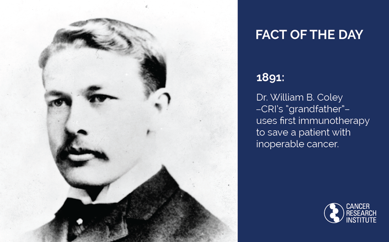1891: Dr. William B. Coley uses first immunotherapy to save a patient with inoperable cancer.