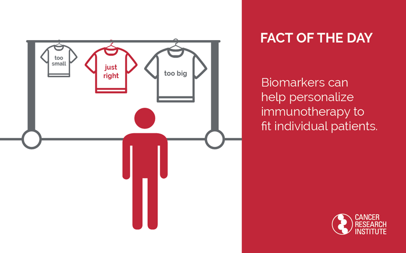 Immunotherapy Fact of the Day: Biomarkers can help personalize immunotherapy to fit individual patients.
