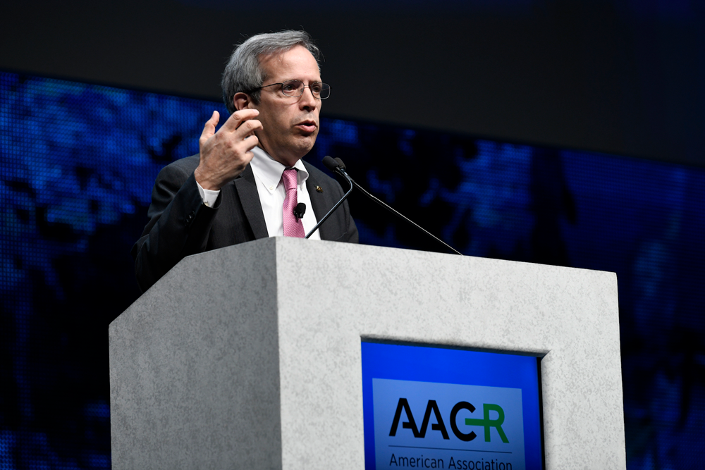 Michael Caliguiri, M.D., speaking at AACR18