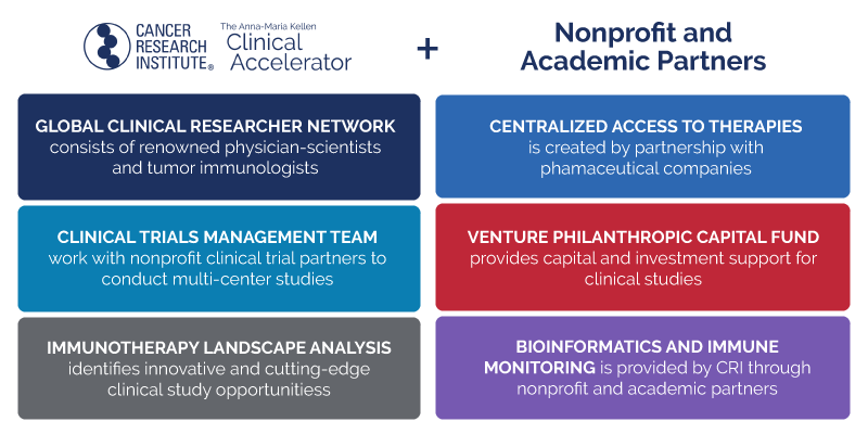 clinical accelerator and nonprofit academic partners; global clinical researcher network, centralized access to therapies, clinical trials management team, venture philanthropic fund, immunotherapy landscape analysis, bioinformatics and immune montiring