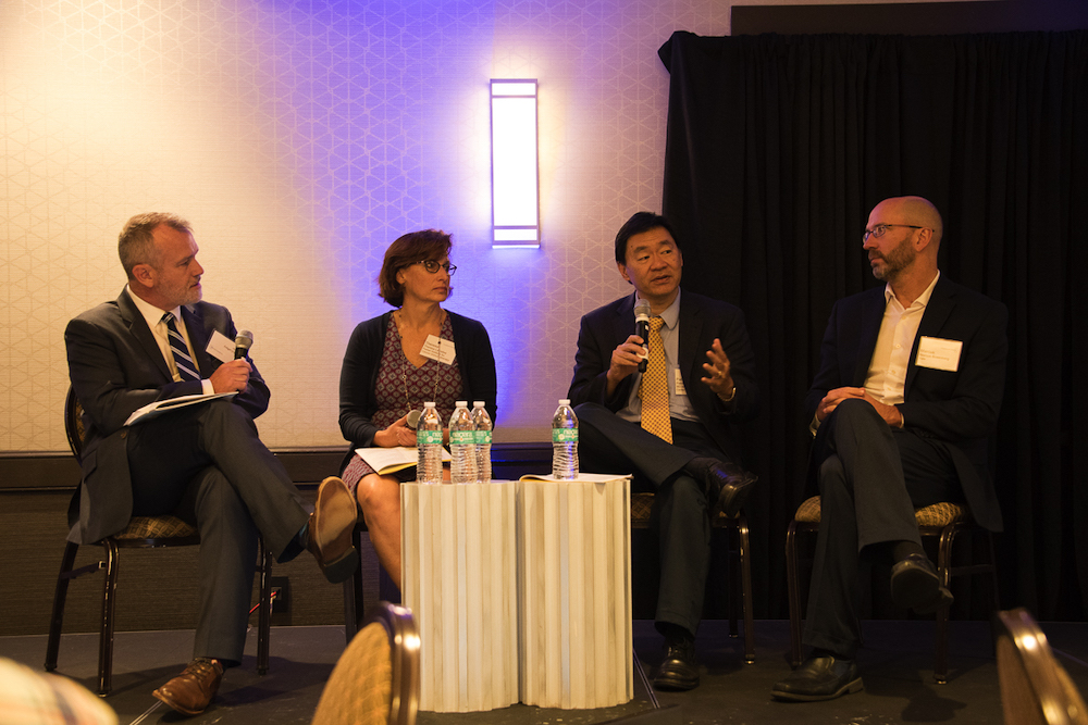 From left to right: Janssen's Ian McCaffrey, Ph.D., Theresa Lavallee Ph.D., of the Parker Institute for Cancer Immunotherapy, Patrick Hwu, M.D., of MD Anderson Cancer Center, and  Marcus Bosenberg, Ph.D., of Yale Cancer Center