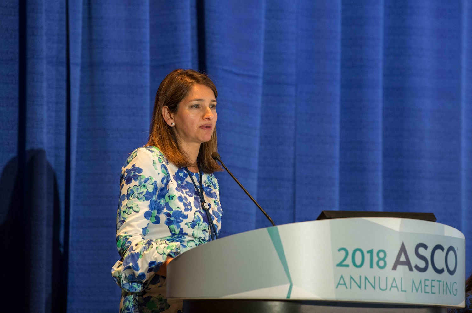 Noopur Raje speaking at ASCO18
