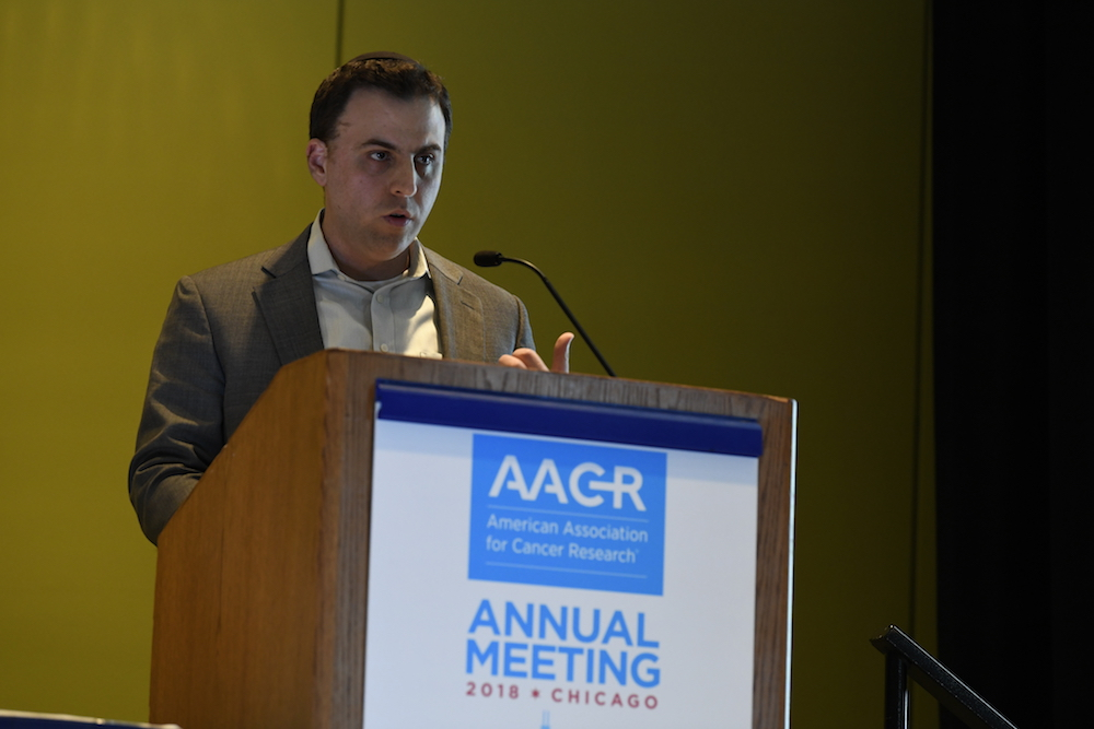 Danny Khalil, M.D., Ph.D., speaking at AACR18