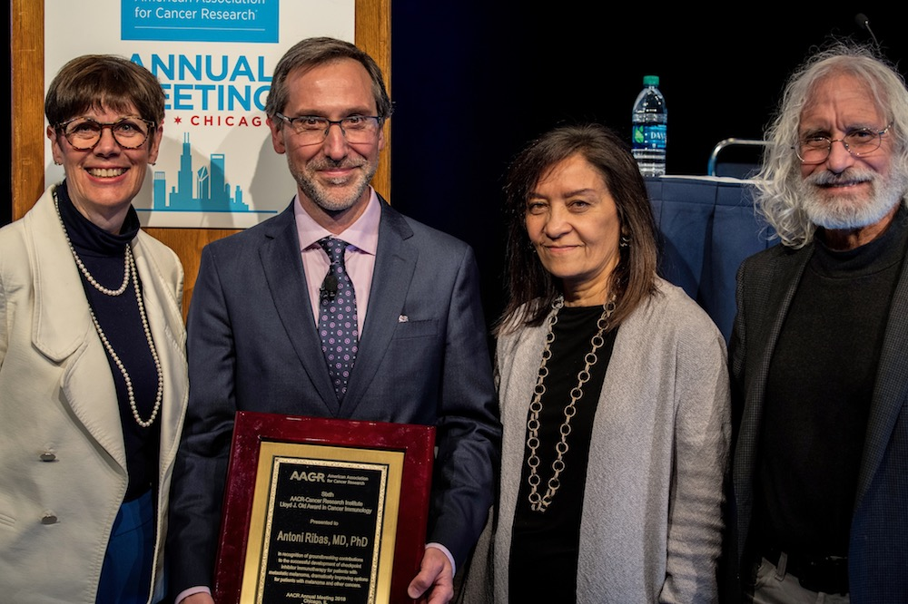 Antoni Ribas, M.D., Ph.D., awarded the sixth AACR-CRI Lloyd J. Old Award in Cancer Immunology. Pictured left to right: Jill O'Donnell-Tormey, Ph.D. (Cancer Research Institute); Antoni Ribas, M.D., Ph.D. (UCLA); Nina Bhardwaj, M.D., Ph.D. (Icahn School of Medicine); Philip Greenberg, M.D. (Fred Hutch)