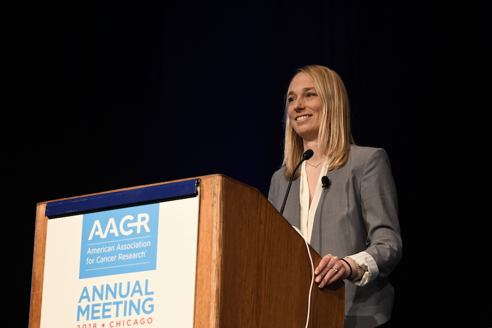 Stefani Spranger speaking at AACR18