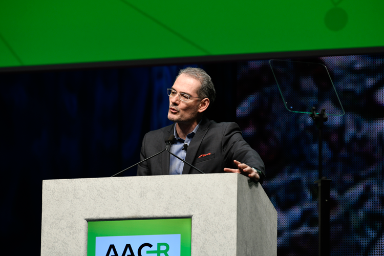 George Coukos speaking at AACR 2018 Opening Plenary