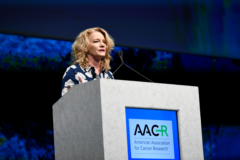 Elaine Mardis, Ph.D., speaking at AACR18