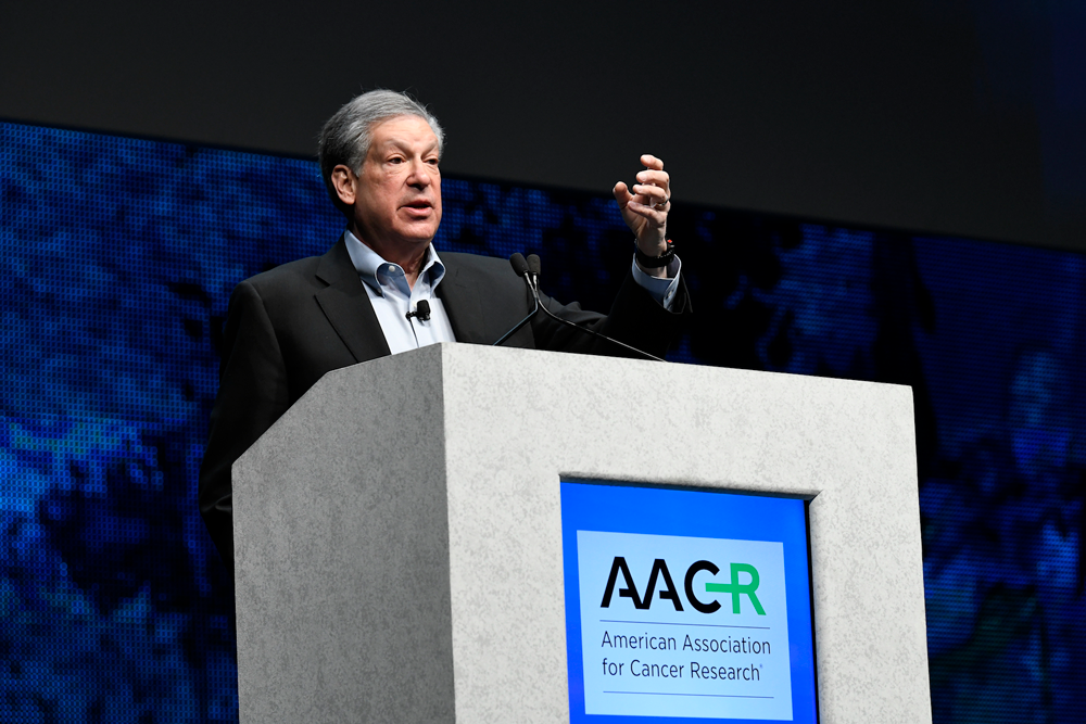 Robert Schreiber, Ph.D., speaking at AACR18