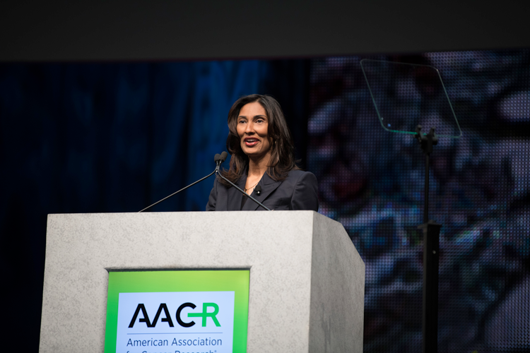 Padmanee Sharma speaking at AACR 2018 Opening Plenary
